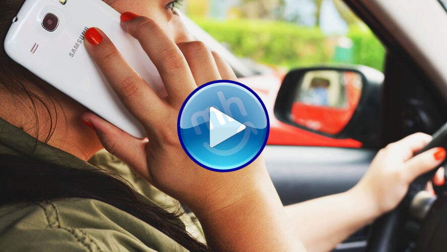 girl driving car talking to a recruiter