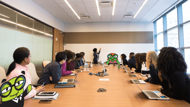 people in a board room for live virtual career coaching session